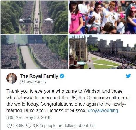 ราชวงศ์อังกฤษขอบคุณคนมาร่วมงานแต่ง 'แฮร์รี-เมแกน'