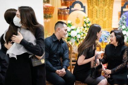 รูปข่าว 'แมท-สงกรานต์' ร่วมฟังสวดพระอภิธรรมคุณพ่อณรงค์ โผกอดเติมกำลังใจให้ 'แต้ว ณฐพร'