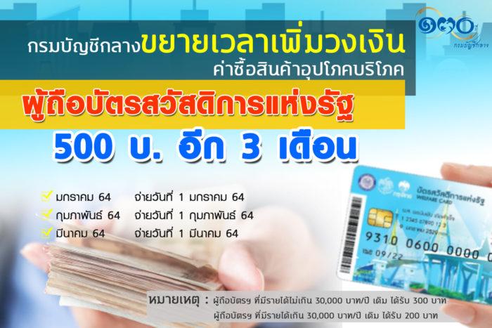 บัตรคนจน เพิ่ม 500 บาท