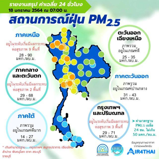 PM2.5 วันนี้ 18 ม.ค. 64