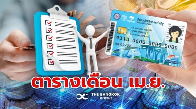 ตารางเงินเข้า บัตรคนจน บัตรสวัสดิการแห่งรัฐ เมษายน 2564