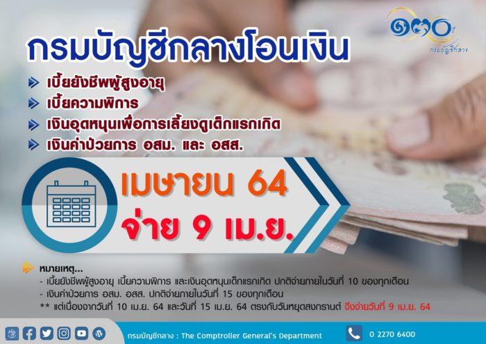 เมษายน 2564 เงินอุดหนุนเด็ก เงินคนพิการ เงินคนแก่ อสม. อสส. 2